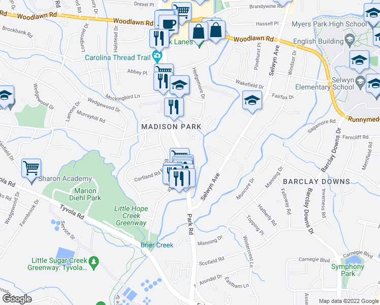 map of restaurants, bars, coffee shops, grocery stores, and more near 4943 Park Road in Charlotte