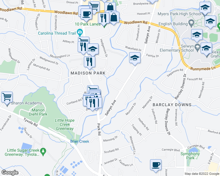map of restaurants, bars, coffee shops, grocery stores, and more near 1812 Carlanda Circle in Charlotte