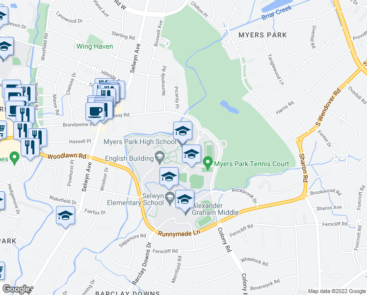 map of restaurants, bars, coffee shops, grocery stores, and more near 2412 Colony Road in Charlotte