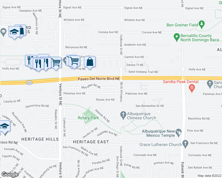 map of restaurants, bars, coffee shops, grocery stores, and more near 9604-9630 Macallan Rd NE in Albuquerque