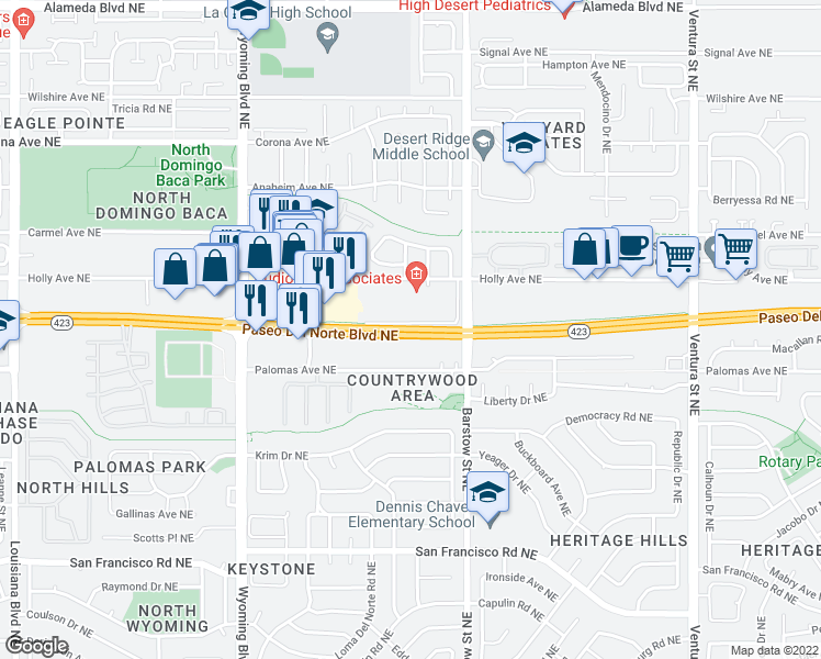 map of restaurants, bars, coffee shops, grocery stores, and more near 8201 Paseo Del Norte Boulevard Northeast in Albuquerque