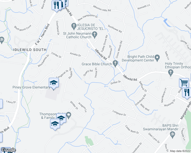 map of restaurants, bars, coffee shops, grocery stores, and more near 2900 Vestal Place in Charlotte