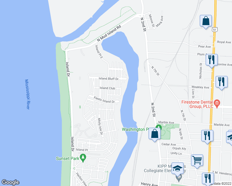 map of restaurants, bars, coffee shops, grocery stores, and more near 1324 Island Town Drive in Memphis