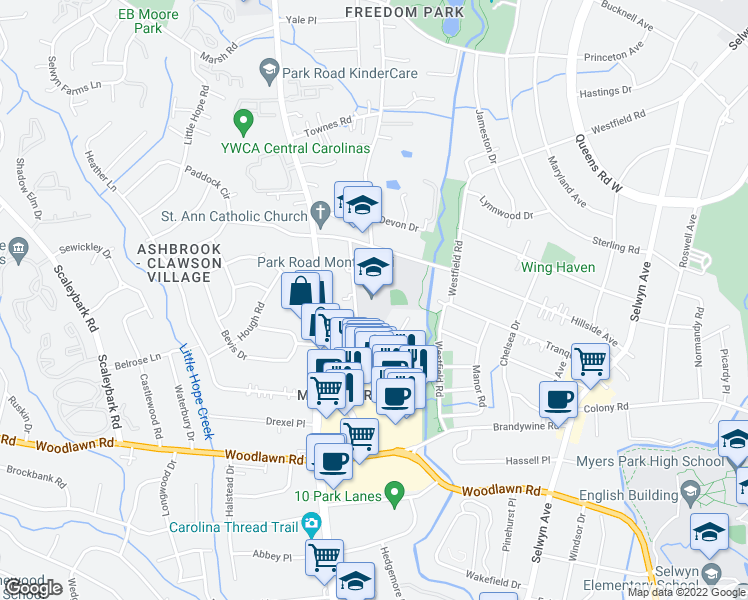 map of restaurants, bars, coffee shops, grocery stores, and more near 3701 Haven Drive in Charlotte