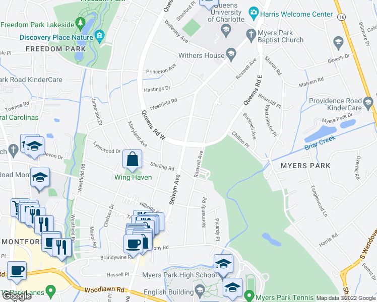 map of restaurants, bars, coffee shops, grocery stores, and more near 2100 Queens Road West in Charlotte