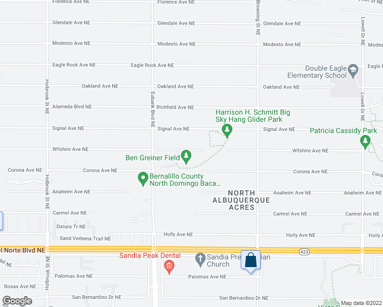 map of restaurants, bars, coffee shops, grocery stores, and more near 10700 Wilshire Avenue Northeast in Albuquerque