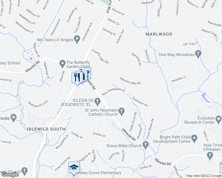 map of restaurants, bars, coffee shops, grocery stores, and more near 3311 New Hampshire Dr in Charlotte