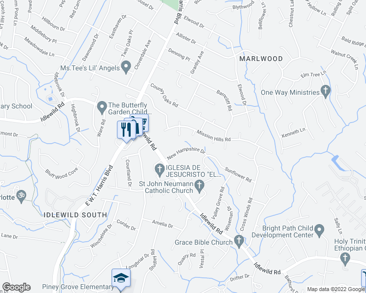 map of restaurants, bars, coffee shops, grocery stores, and more near 3311 New Hampshire Drive in Charlotte