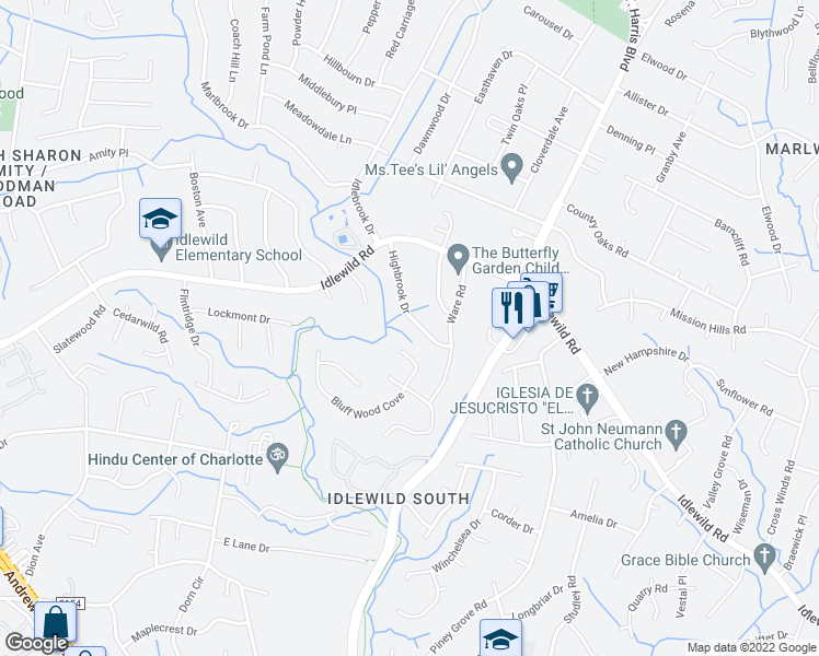 map of restaurants, bars, coffee shops, grocery stores, and more near 7005 Bluff Wood Cove in Charlotte
