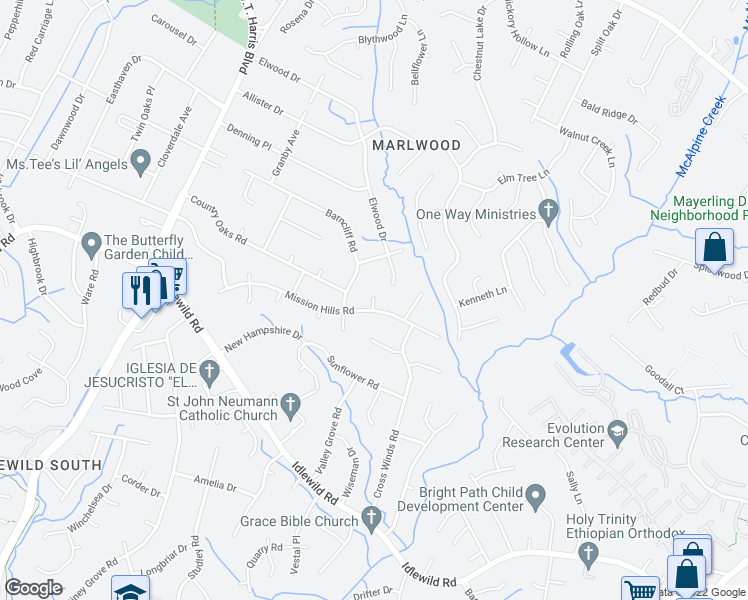 map of restaurants, bars, coffee shops, grocery stores, and more near Teaberry Court in Charlotte