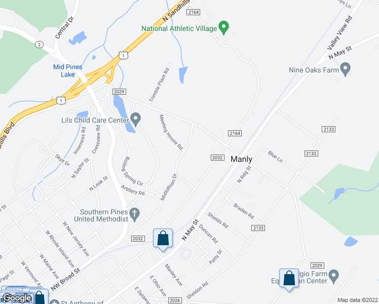 map of restaurants, bars, coffee shops, grocery stores, and more near 410 Midlothian Drive in Southern Pines