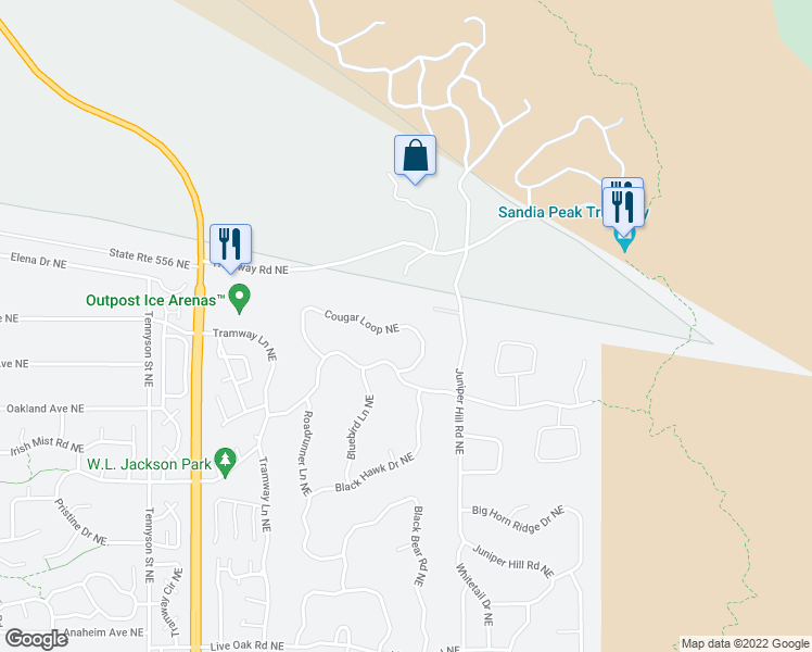 map of restaurants, bars, coffee shops, grocery stores, and more near 633-639 Cougar Loop Northeast in Albuquerque