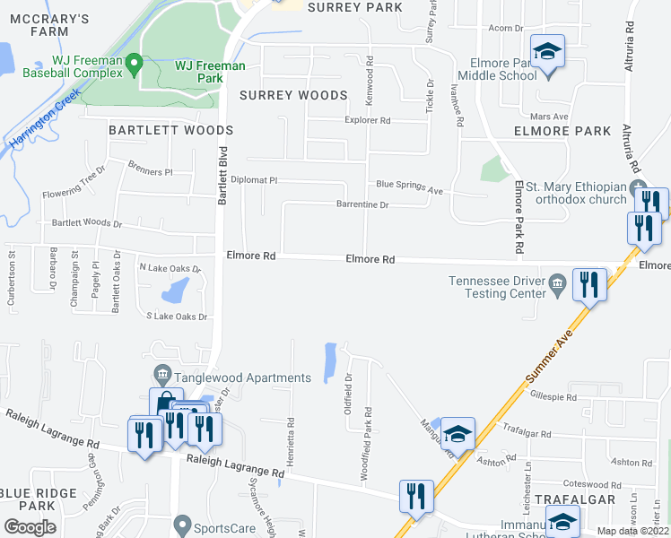 map of restaurants, bars, coffee shops, grocery stores, and more near Farmland Way in Arlington