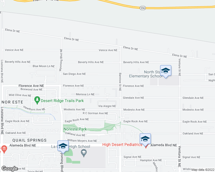 map of restaurants, bars, coffee shops, grocery stores, and more near 9219 Lexie Lane in Albuquerque