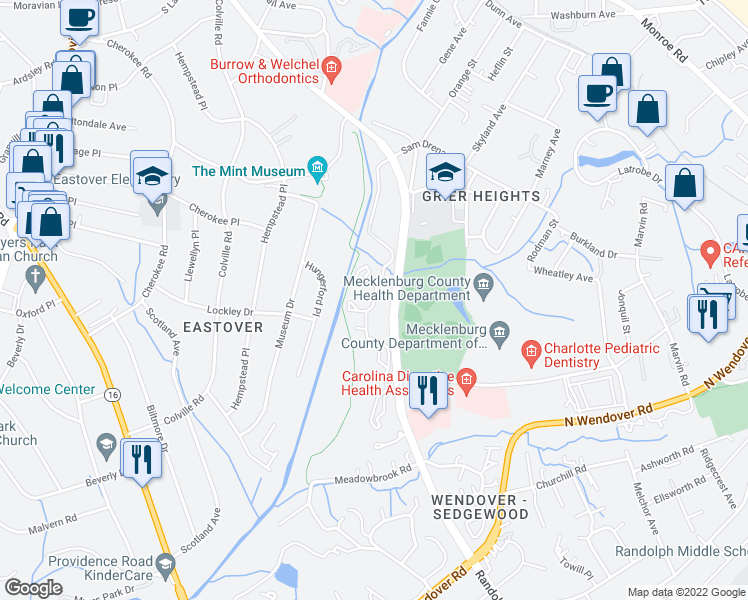 map of restaurants, bars, coffee shops, grocery stores, and more near 3390 Eastover Ridge Drive in Charlotte