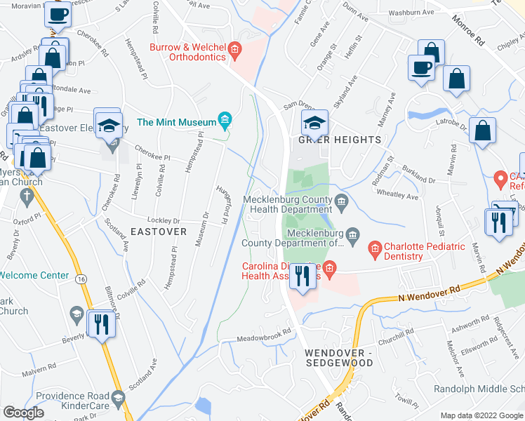 map of restaurants, bars, coffee shops, grocery stores, and more near 3300 Eastover Ridge Drive in Charlotte