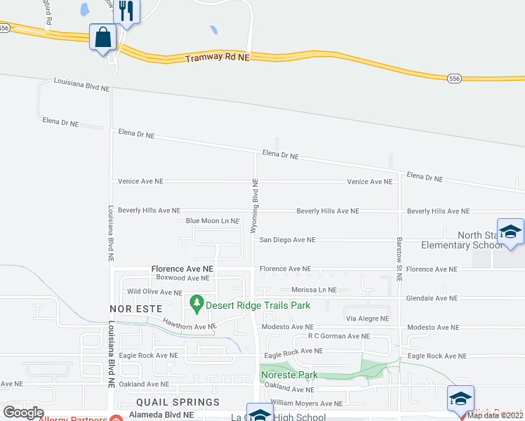map of restaurants, bars, coffee shops, grocery stores, and more near Wyoming Boulevard Northeast in Albuquerque