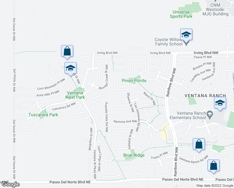 map of restaurants, bars, coffee shops, grocery stores, and more near 7709 Harrier Avenue Northwest in Albuquerque
