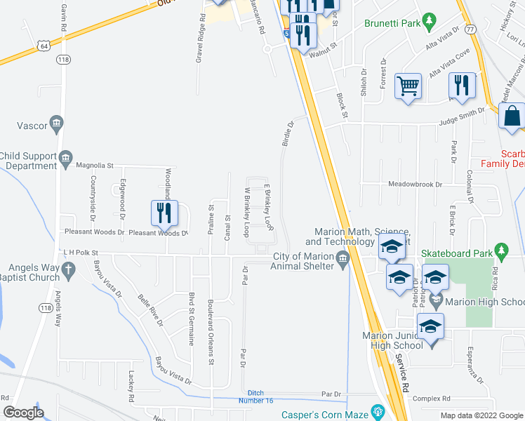 map of restaurants, bars, coffee shops, grocery stores, and more near 1120 L H Polk Drive in Marion