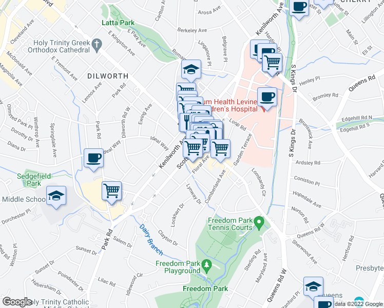 map of restaurants, bars, coffee shops, grocery stores, and more near Scott Avenue in Charlotte