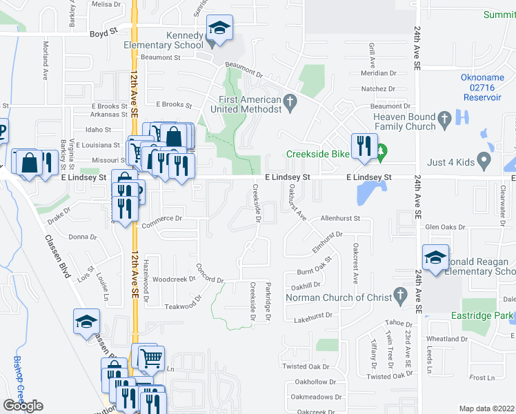 map of restaurants, bars, coffee shops, grocery stores, and more near 1322-1388 Creekside Drive in Norman
