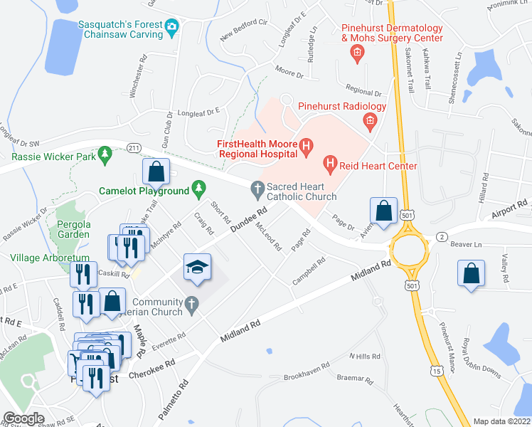 map of restaurants, bars, coffee shops, grocery stores, and more near in Pinehurst