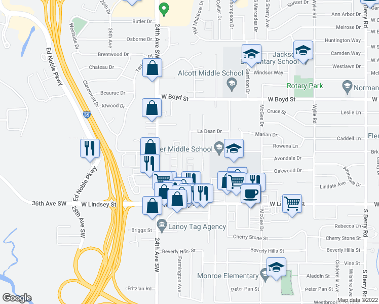 map of restaurants, bars, coffee shops, grocery stores, and more near 820 Westridge Terrace in Norman