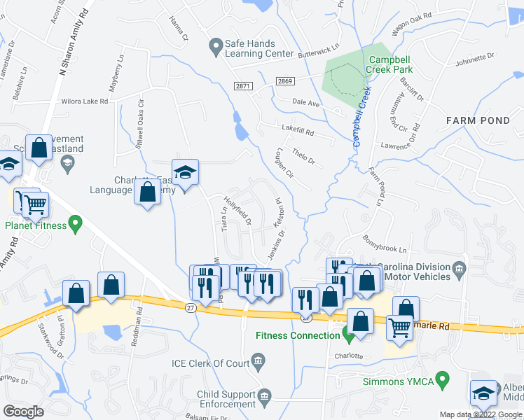 map of restaurants, bars, coffee shops, grocery stores, and more near 1207 Kelston Place in Charlotte