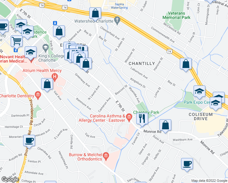 map of restaurants, bars, coffee shops, grocery stores, and more near 418 Ranier Avenue in Charlotte