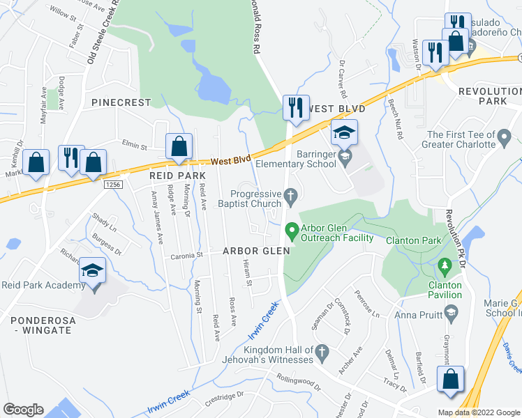 map of restaurants, bars, coffee shops, grocery stores, and more near 2305 Farmer Street in Charlotte