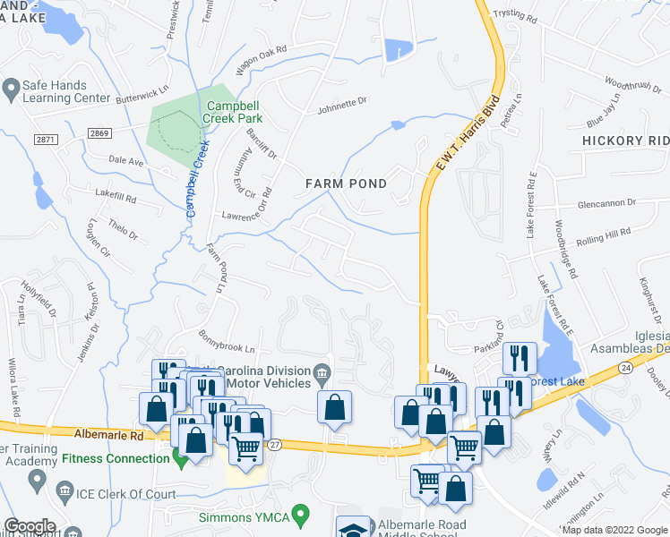 map of restaurants, bars, coffee shops, grocery stores, and more near 8242 Wallace Glen Drive in Charlotte