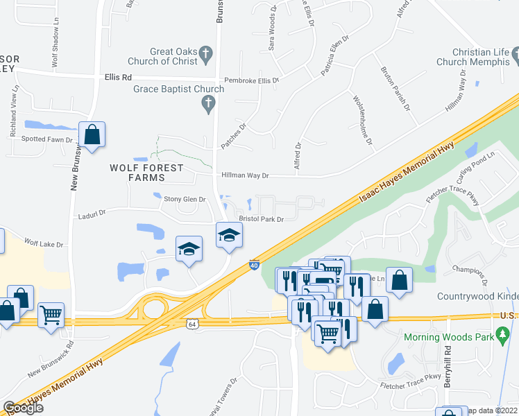 map of restaurants, bars, coffee shops, grocery stores, and more near 8840 Bristol Park Drive in Bartlett