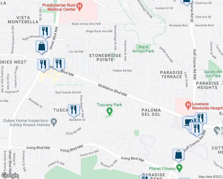 map of restaurants, bars, coffee shops, grocery stores, and more near Mc Mahon Boulevard Northwest in Albuquerque