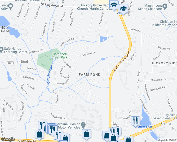 map of restaurants, bars, coffee shops, grocery stores, and more near 5307 Dawndeer Lane in Charlotte