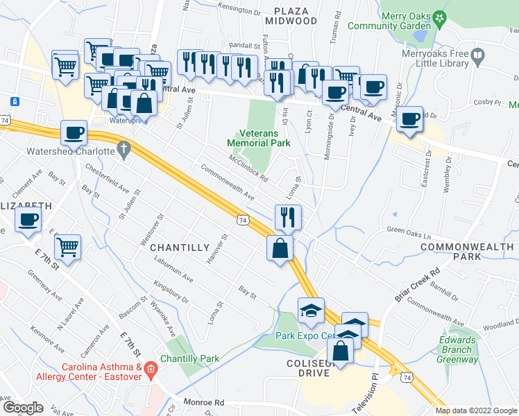 map of restaurants, bars, coffee shops, grocery stores, and more near 2516 Commonwealth Ave in Charlotte