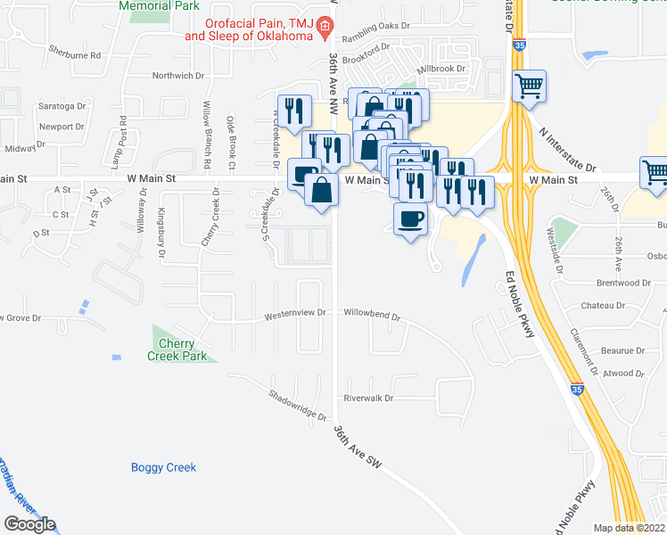 map of restaurants, bars, coffee shops, grocery stores, and more near 252-300 36th Avenue Southwest in Norman
