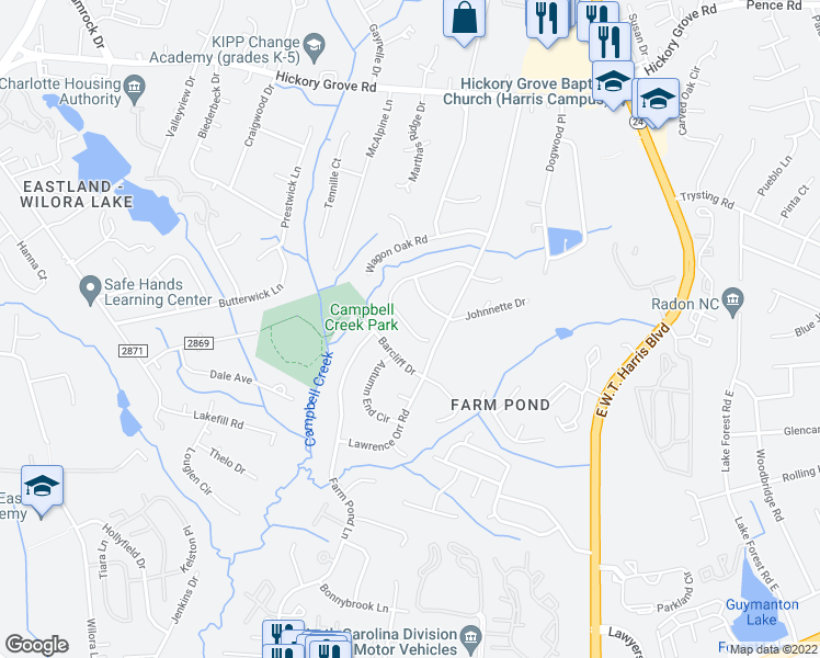map of restaurants, bars, coffee shops, grocery stores, and more near 6622 Saddle Point Road in Charlotte