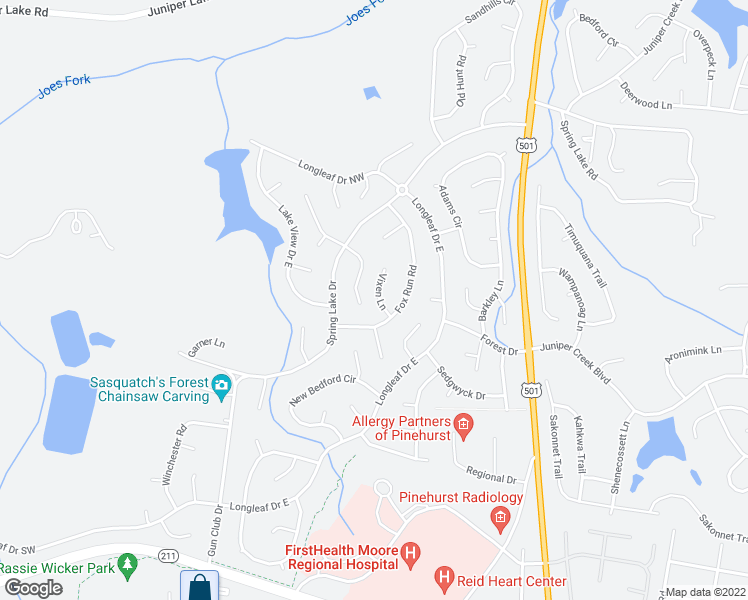 map of restaurants, bars, coffee shops, grocery stores, and more near 35 Vixen Lane in Pinehurst