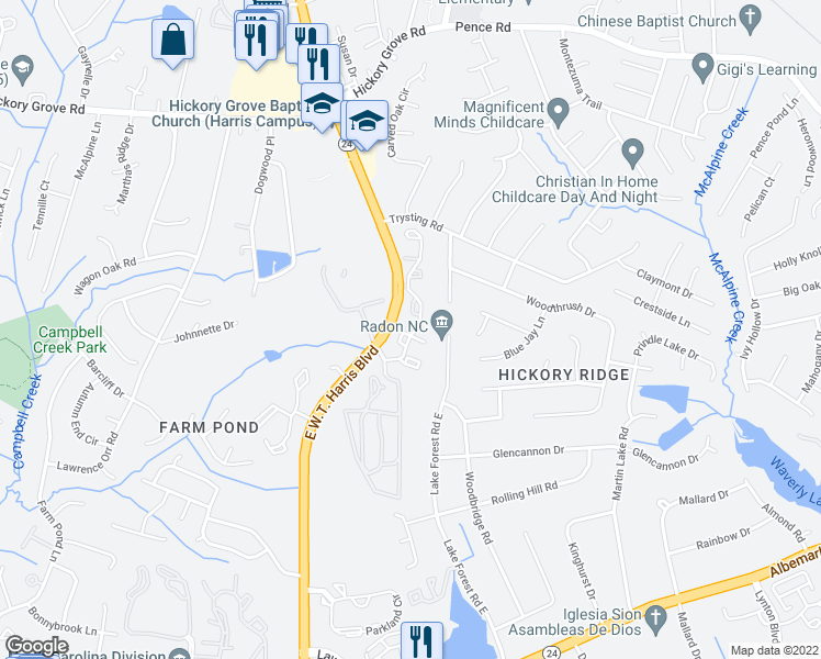 map of restaurants, bars, coffee shops, grocery stores, and more near 7700 Petrea Ln in Charlotte