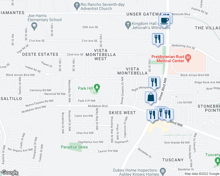 map of restaurants, bars, coffee shops, grocery stores, and more near 5947 Night Whisper Road Northwest in Albuquerque