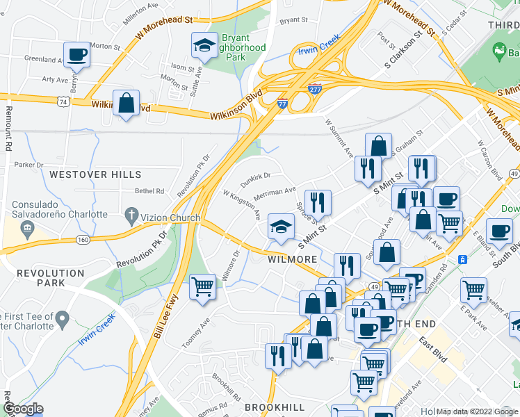 map of restaurants, bars, coffee shops, grocery stores, and more near 716 West Kingston Avenue in Charlotte