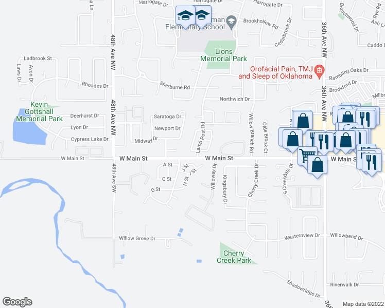 map of restaurants, bars, coffee shops, grocery stores, and more near 4304 Harvard Road in Norman