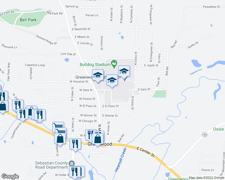 map of restaurants, bars, coffee shops, grocery stores, and more near 421 East Gary Street in Greenwood