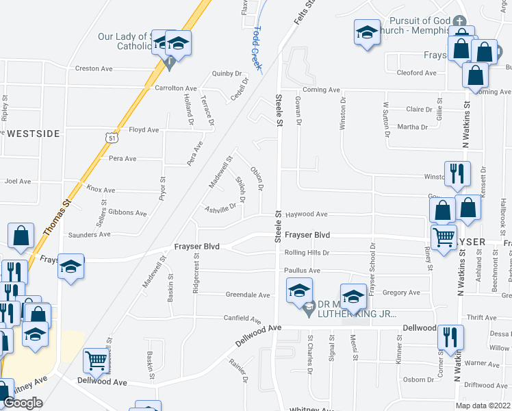 map of restaurants, bars, coffee shops, grocery stores, and more near 3435 Obion Drive in Memphis