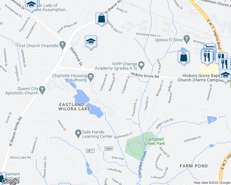 map of restaurants, bars, coffee shops, grocery stores, and more near 6615 Balgreen Court in Charlotte