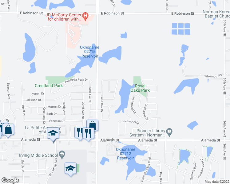 map of restaurants, bars, coffee shops, grocery stores, and more near Bethany Oaks Drive in Norman