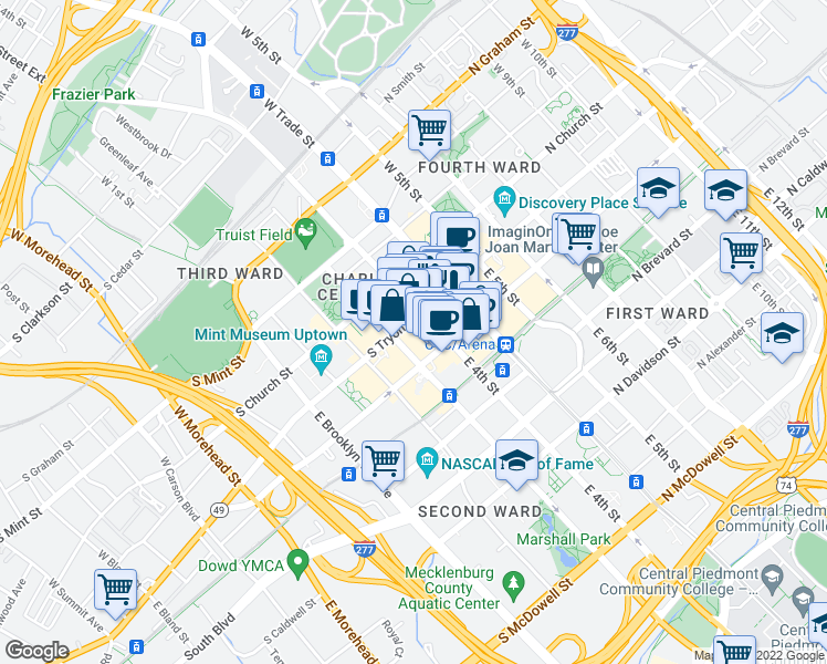 map of restaurants, bars, coffee shops, grocery stores, and more near 221 South Tryon Street in Charlotte