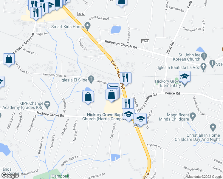 map of restaurants, bars, coffee shops, grocery stores, and more near 5625 Keyway Boulevard in Charlotte