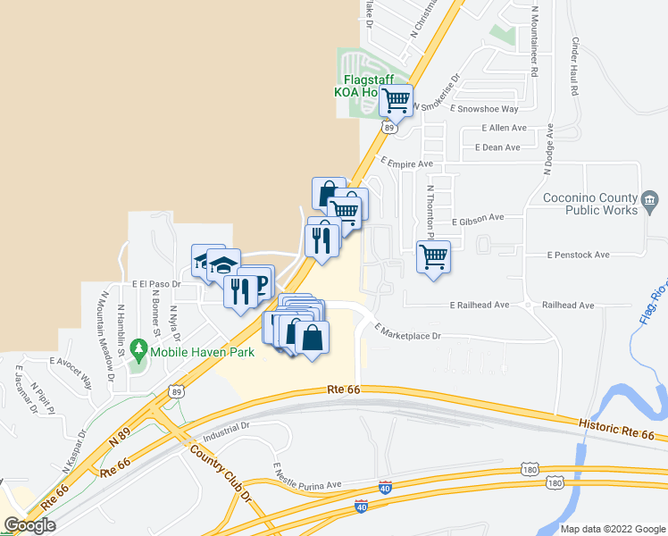 map of restaurants, bars, coffee shops, grocery stores, and more near 5000 North Mall Way in Flagstaff