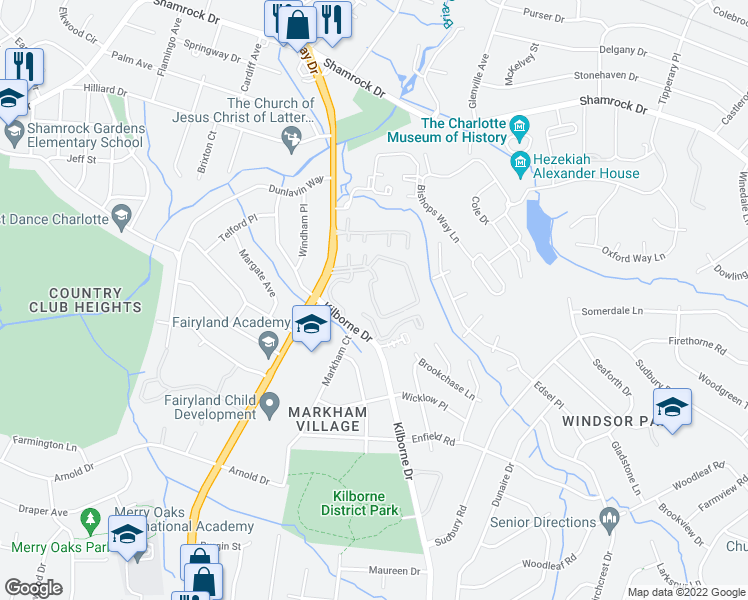 map of restaurants, bars, coffee shops, grocery stores, and more near 2206 The Slopes Apartments Drive in Charlotte